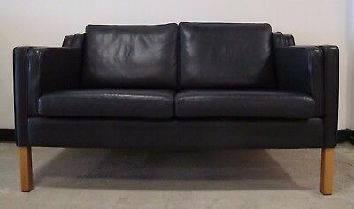 BORGE MOGENSEN STYLE BLUE LEATHER SOFA by STOUBY danish mid century love seat