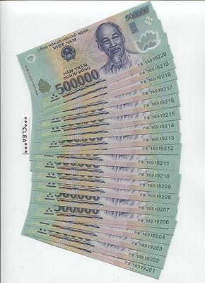 500,000 NEW CRISP VIETNAM DONG UNCIRCULATED POLYMER CURRENCY 1 x 500000 VND