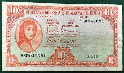 1938 Ireland Republic Currency Commission 10 Shillings Eire Great Britain Scarce