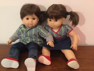 American Girl Bitty Twins Brunette and Brown Eyes Boy and Girl