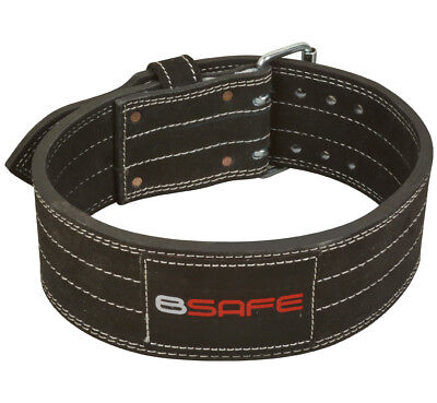 "Power Weight Lifting Leather Belt 4"" Wide Black Small"