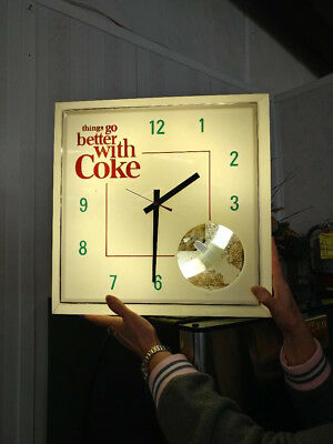 1960s THINGS GO BETTER WITH COKE CLOCK WORKS LIGHTED DRINK COCA COLA PLASTIC