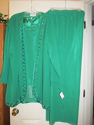 Formal Wedding Mother of the Bride/ Groom Pant Suit 3Pc NWT 20W Emerald Green