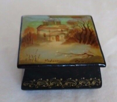Vintage Soviet Russian Hand Painted Black Lacquered Signed Pill Box Cathedral