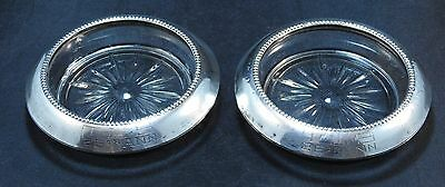 2 Frank M Whiting Sterling Silver Heavy Pressed Glass Coasters AS IS