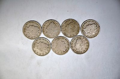 7 Different Dates Liberty Nickels G-VG Lot  K616
