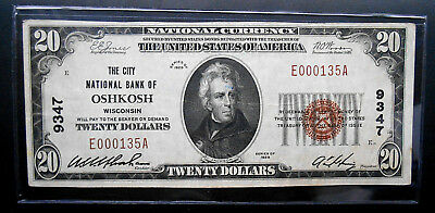 1929 $20 National Currency Banknote. The City National Bank Oshkosh WI. Ch# 9347