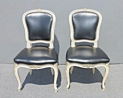 Vintage Pair of French Provincial Louis XV Black LEATHER CHAIRS Off White Frame