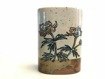 MINT Vintage Japanese Pottery Wall Pocket decorated with Flowers - Earth Tones