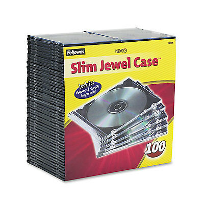 Fellowes Slim Jewel Case Clear/Black 100/Pack 98335