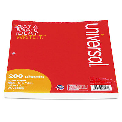 UNIVERSAL Filler Paper 8 1/2 x 11 Wide Rule White 200 Sheets/Pack 20923