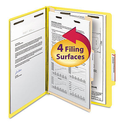 Smead Top Tab Classification Folder One Divider Four-Section Letter Yellow 10