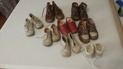 Lot of 8 Vintage Baby Toddler Shoes