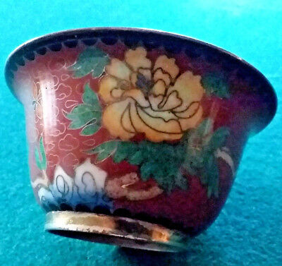 Vintage Brick Red Chinese Cloisonne Bowl