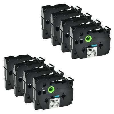 """8PK Black on White Label Tape Compatible for Brother TZ TZe 241 18mm 3/4"""" PT2700"""