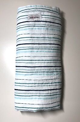 "NWOT Bebe Au Lait 100% Cotton Muslin Swaddle Blanket blue/green stripes 47""x47"""