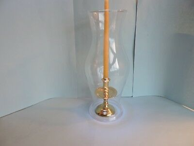 Minature Colonial Williamsburg brass taper candle holder, shade, 8 new candles