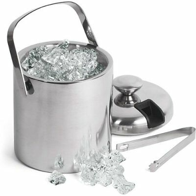 Double Walled Ice Bucket With Tongs Inside Lid 1.5ltr | bar@drinkstuff Insulated