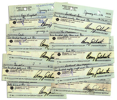 Barry Goldwater 10 Checks Signed