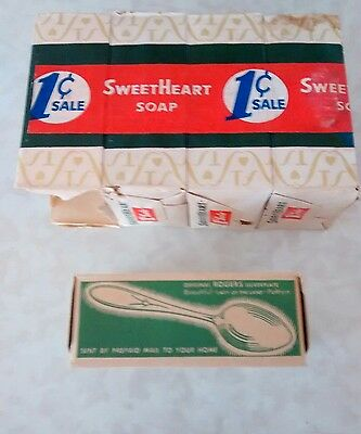 Vintage Sweetheart Toilet Soap Boxes 1 cent Sale Wrapper 4 Pack (Empty)