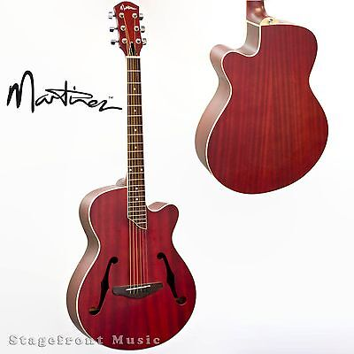 Martinez Jazz Hybrid Small-Body Acoustic-Electric Cutaway Guitar Red