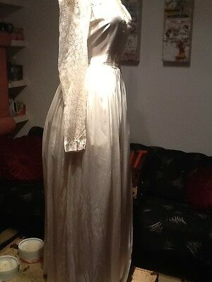 1930s / 40s Original Organza Cream &  Ribboned Wedding / Evening Dress 10/12