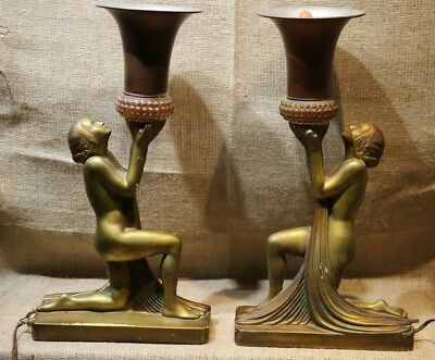 Pair of Matching Antique Art Nouveau Nude Lady Lamps-Gold Color