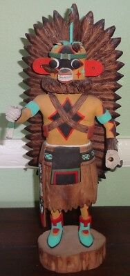 """Hopi 13"""" Kachina TINO YOUVELLA Hand Carved & Painted (Some Damage) Yellow Ahote"""