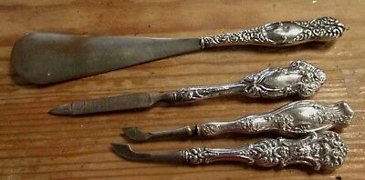 Lot of 4 Antique Sterling Silver Nail Files, Cuticle Tool & Shoe Horn