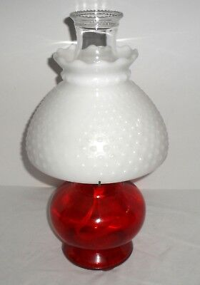 Vtg Eagle Oil Lamp Ruby Red Glass Base With Milk Glass Hobnail Shade New Wick!