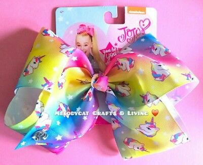"AUTHENTIC 💖Jojo Siwa Large Hair Bow 8""  Jo Jo Dance , 🦄UNICORNS Rainbow Ombre"