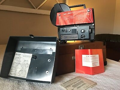 Vintage SEARS 3 9232 DU-All Eight Movie Projector w/Reels & Orig Box J0550