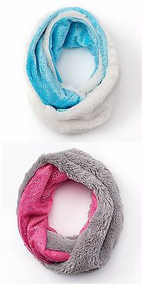 SO Girls Faux-Fur Sparkle Infinity Reversible Scarf in Pink or Baby Blue New $22