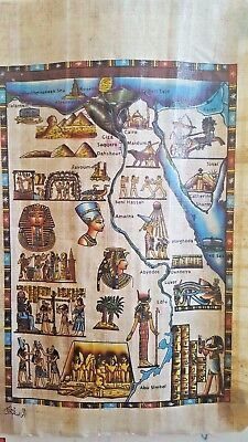 EGYPTIAN HAND PAINTED PAPYRUS EGYPT MAP Nefertiti USA Seller