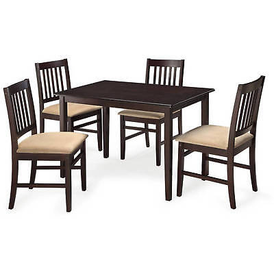 5 pc Dining Table Cushioned Chairs Room Kitchen Set Wood Comfort Espresso