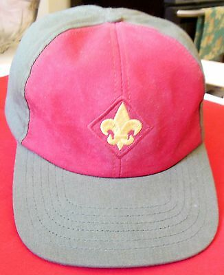 Vintage Twill Boy Scout BSA Cap Adjustable Olive & Red & Yellow Logo M/L