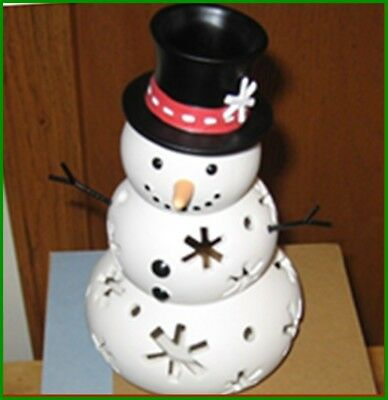 Partylite Snowman Mr Snow Family Tealight Candle Holder Nib