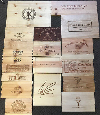 17 Wooden Wine Box End Panels from Wine Crates for Decoration Rare Wines Lot 1