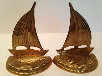 Pair of Vintage Mid Century Brass Sail Boat Bookends- Hollywood Regency