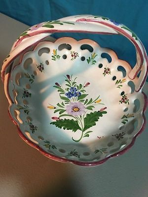 RCCL Made in Portugal Large Hand Painted Woven Handle Reticulated Basket