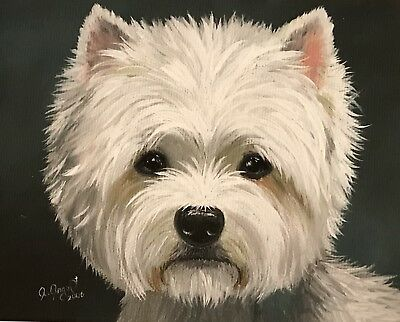 West Highland Terrier WESTIE PRINT from Painting art Dog 8x10
