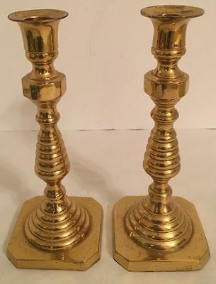 Vintage Pair Of Lacquered Brass Beehive Design Candlesticks Hollywood Regency