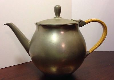 Vintage Pewter Tea Pot Made By Zeister, In Holland, With Rattan Handle Cover