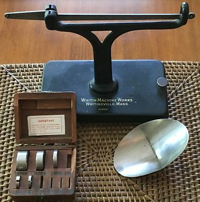 Vtg Iron Brown & Sharpe Mfg Scale With Wood Box /case & Weights