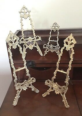 Vtg Lot of 4 Assorted Brass Victorian Style Easel Picture Plate Stand Holders