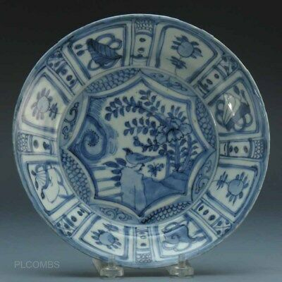 Chinese Wanli Blue and White Shallow Bowl, Crow Floral Landscape #465