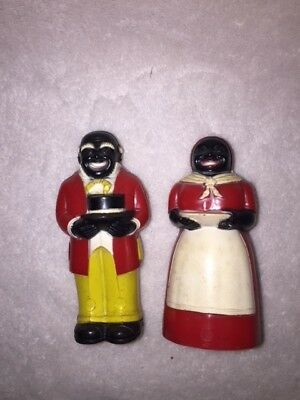 Vintage Plastic Aunt Jemima & Uncle Mose Salt & Pepper Shakers F&f Mold And Die