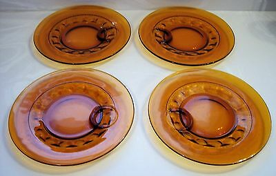 Indiana Glass King\u0027s Crown Thumbprint Amber 10\  Snack Plate ... & VINTAGE Amber Kings Crown Luncheon Set Plate With Cup Holder Retro ...