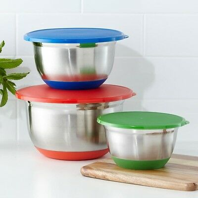 Set of 3 Mixing Bowls With Lids Stainless Steel Non Slip Base Home Kitchen Food