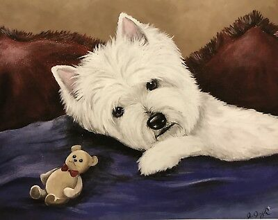 West Highland Terrier WESTIE PRINT from Painting art Dog 11x14